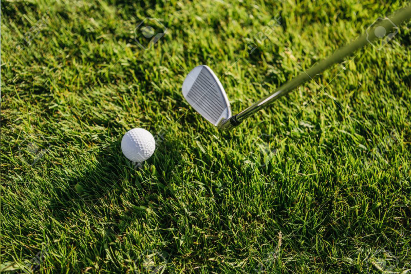 A Close-up view of Golf club and ball in green grass.